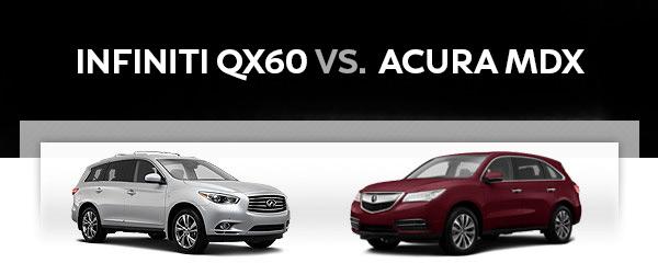 Infiniti Qx60 Vs Acura Mdx Vehicle Comparison